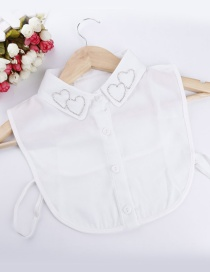 Lovely White Double Heart Shape Decorated Fake Collar