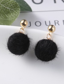 Lovely Black Fuzzy Ball Decorated Pom Earrings
