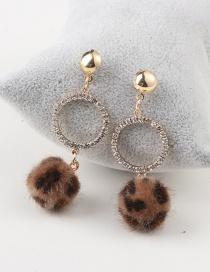 Lovely Brown Leopard Shape Decorated Pom Earrings