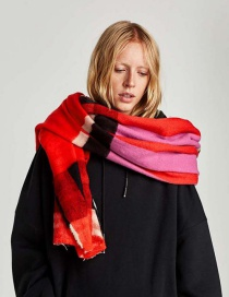 Fashion Plum-red Color-matching Decorated Scarf