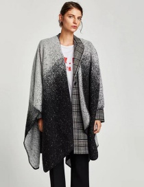 Fashion Black+gray Dot Shape Decorated Shawl