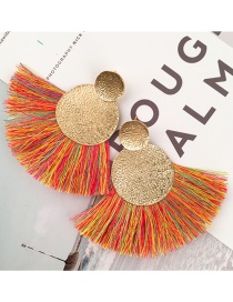 Bohemia Yellow Metal Round Shape Decorated Tassel Earrings