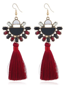 Elegant Red Semicircle Decorated Tassel Earrings