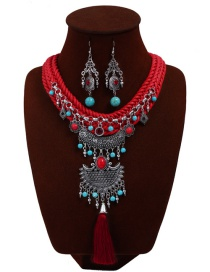 Bohemia Red Hand-woven Decorated Jewelry Sets