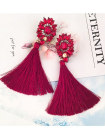 Elegant Plum-red Square Shape Diamond Decorated Tassel Earrings