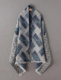 Fashion Blue Color Matching Decorated Scarf