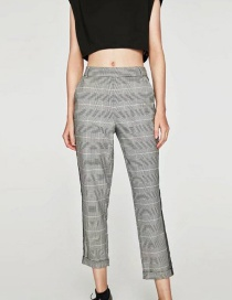 Fashion Light Gray Grid Pattern Decorated Trousers