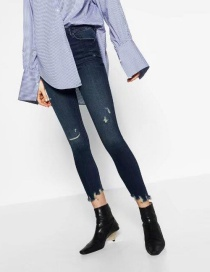 Fashion Blue Pure Color Decorated Jeans