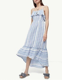 Fashion Light Blue Stripe Pattern Decorated Dress