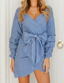 Fashion Blue+white Grid Pattern Decorated Dress