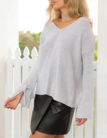 Fashion Light Gray Pure Color Decorated Sweater