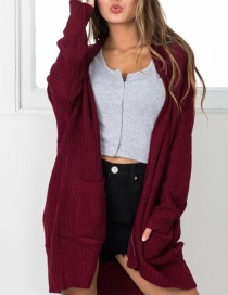 Fashion Claret Red Pure Color Decorated Coat