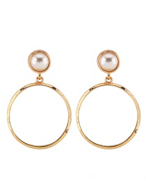 Fashion Gold Color Circular Rings Shape Decorated Earrings