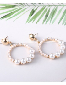 Fashion Gold Color+white Circular Ring Shape Decorated Earrings