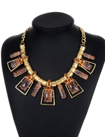 Fashion Coffee Square Shape Decorated Necklace