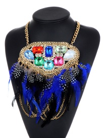 Fashion Blue Feather Decorated Necklace