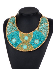 Fashion Blue Bead Decorated Necklace