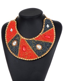 Fashion Red+black Water Drop Shape Decorated Necklace