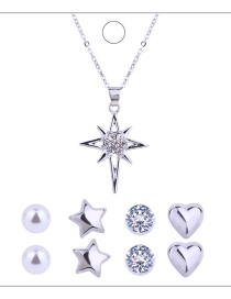 Fashion Silver Colour Star&heart Shape Decorated Jewelry Set (9 Pcs)