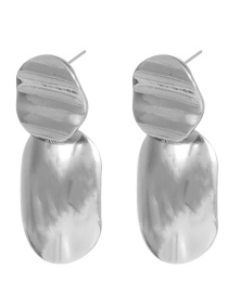Fashion Silver Color Irregular Shape Decorated Earrings