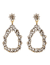 Fashion Antique Gold Water Drop Shape Decorated Earrings