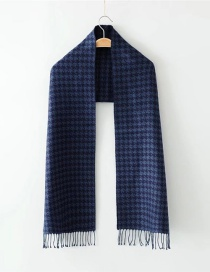 Fashion Navy Grid Pattern Decorated Scarf
