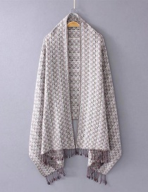Fashion White Tassel Decorated Scarf