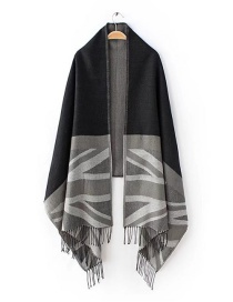 Fashion Black+gray Flag Pattern Decorated Scarf