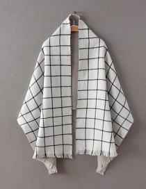 Fashion White Grid Pattern Decorated Scarf