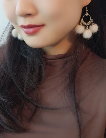 Fashion Beige Pom Ball Decorated Earrings