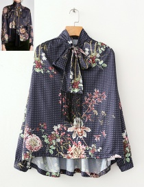 Fashion Navy Flower Pattern Decorated Smock