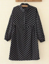 Fashion Black Spot Pattern Decorated Dress