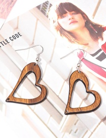 Fashion Coffee Heart Shape Decorated Hollow Out Earrings