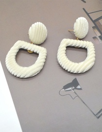 Fashion White Letter D Shape Design Pure Color Earrings