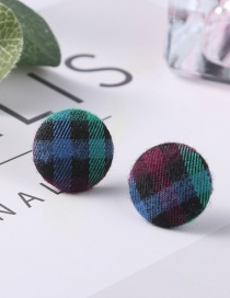 Fashion Green Grid Pattern Decorated Earrings