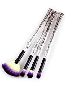 Trendy Yellow+purple Sector Shape Decorated Eye Brush(4pcs)