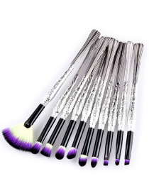 Trendy Yellow+purple Sector Shape Decorated Eye Brush(10pcs)
