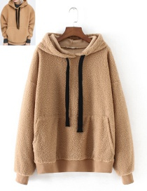 Fashion Khaki Pure Color Decorated Thicken Hoodie