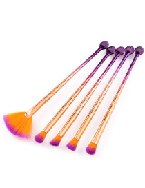 Trendy Purple+orange Sector Shape Decorated Cosmetic Brush(5pcs)