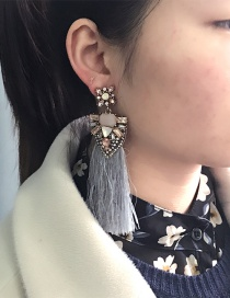 Fashion Gray Geometric Shape Diamond Decorated Tassel Earrings