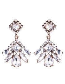 Trendy White Geometric Shape Diamond Decorated Earrings