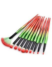 Trendy Red+green Color Matching Decorated Cosmetic Brush(10pcs)
