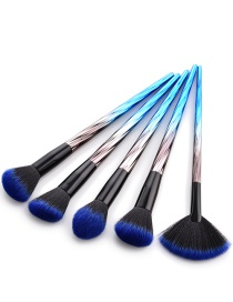 Fashion Blue+black Sector Shape Decorated Cosmetic Brush(5pcs)