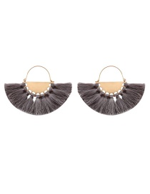 Fashion Gray Tassel Decorated Sector Shape Earrings