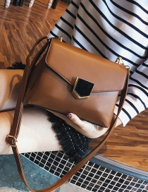 Fashion Brown Square Shape Design Pure Color Shoulder Bag