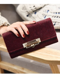 Fashion Red Lock Decorated Wallet