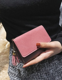 Fashion Pink Pure Color Decorated Wallet
