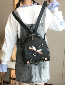 Fashion Black Embroidered Dragonfly Decorated Backpack