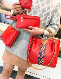 Fashion Red Coloured Ribbon Decorated Handbag(4pcs)
