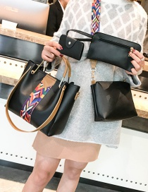 Fashion Black Coloured Ribbon Decorated Handbag(4pcs)